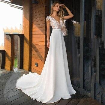 SoDigne Elegant Satin V-neck A-line Wedding Dresses 2020 Boho Bridal Gowns Backless Vestido De Noiva Plus Size Wedding Dress
