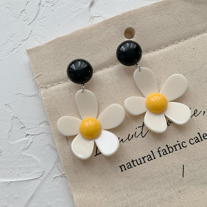 Vintage Big Acrylic Geometric Round Earrings For Women New Resin Polka Dot Earrings Fashion Long Style,1 Pair