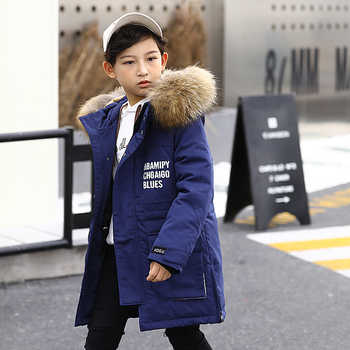 HSSCZL boys duck down jackets 2019 brand new winter thicken outerwear overcoat boy down coat hooded big fur collar kids 8-14Y - DISCOUNT ITEM  51% OFF All Category