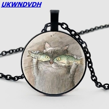 Hot cat portrait in cute hot, beautiful fashion glass pendant necklace for men and women