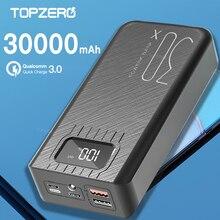 Batterie externe Power Bank, 30000mAh, chargeur rapide double USB, affichage numérique LED, pour iPhone 11 Huawei P30