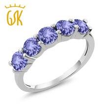 Ювелирные украшения 1,50 Ct Круглый Натуральный Синий танзанит 925 пробы серебра с 5 камнями Обручение обручальные кольца для Для женщин