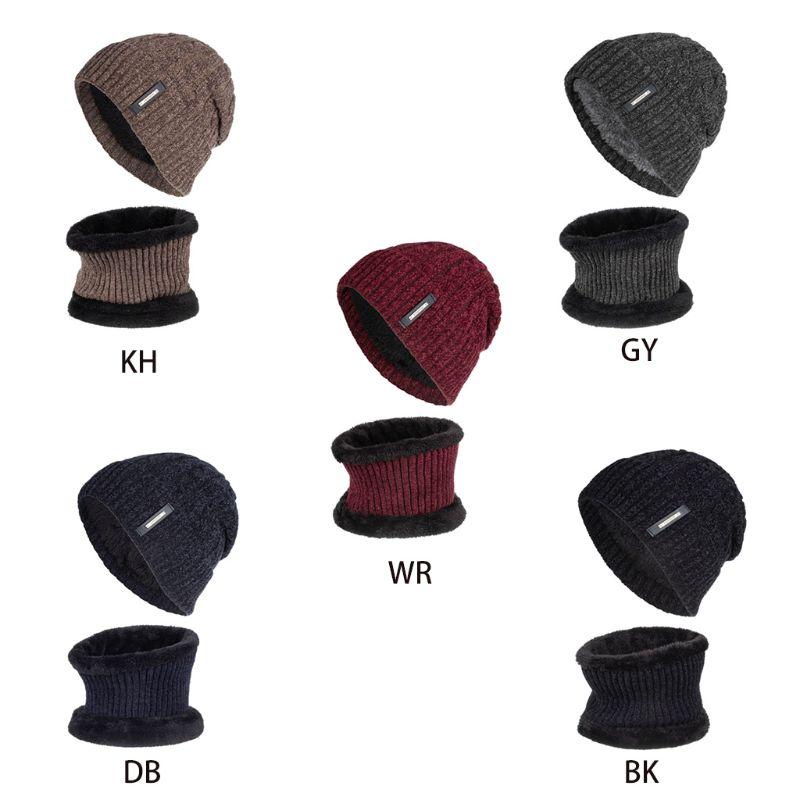 2Pcs Unisex Winter Chenille Plush Lined Beanie Hat Infinity Circle Scarf Set 40JF