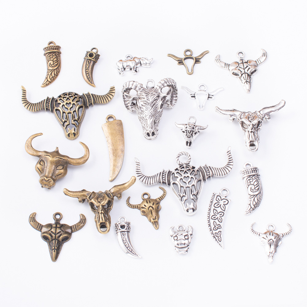 50g 100g Bull Ram Mixed Charms Pendants Vintage Antique Bronze Silver Bracelets Necklaces Crafts Metal For DIY Jewelry Making