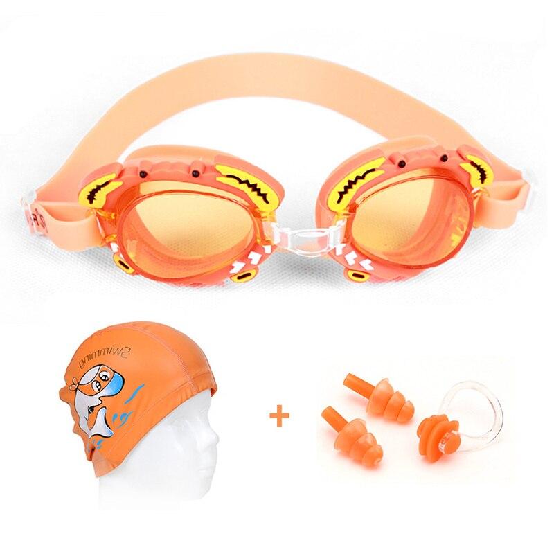Enfants natation lunettes ensemble Silicone pince-nez oreilles Plug dessin animé imprimé casquette Kit natation accessoires pour garçons filles H7JP