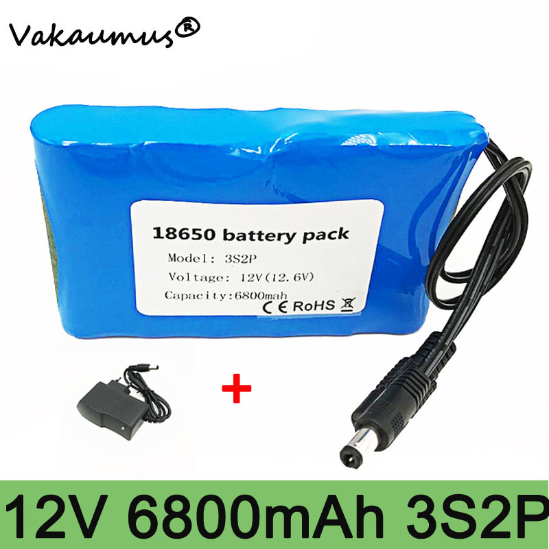 12v <font><b>battery</b></font> <font><b>pack</b></font> lithium <font><b>battery</b></font> 12v 6800mah 18650 bms <font><b>3s</b></font> 2p portable 12v dc <font><b>battery</b></font> for CCTV Cam Monitor GPS Car Camera vakaum image