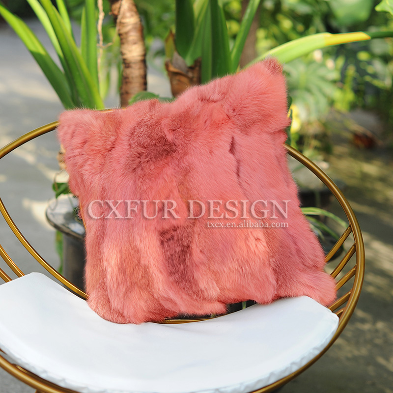 Free Shipping CX-D-17 Soft Warm Real Rabbit Fur Patchwork Pillow Case DROP SHIPPING