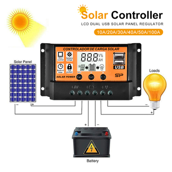 цена на 10/20/30/40/50/100A MPPT Solar Charger Controller 12V 24V Solar Panel Battery Regulator Controlador with Dual USB LCD display