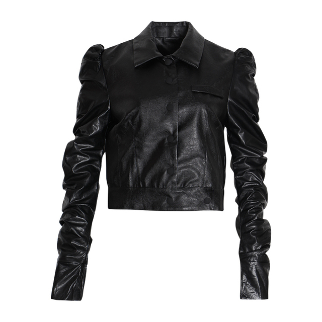TWOTWINSTYLE Black PU Leather Women's Jacket Lapel Collar Puff Sleeve Single Breasted Jackets Female 2020 Autumn Fashion OL New