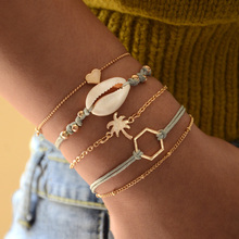 Ubuhle Bohemian Tree of Life Shell Bracelet Set 2019 Retro Geometric Statement Female Bracelets Women Fashion Hand Jewelry Gift