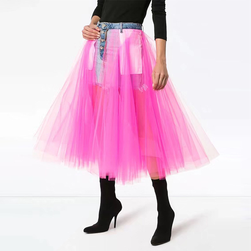 Thailand Tide Brand Mesh Bitter Fleabane Skirt 2020 Gao Waist Splicing Two Sides Wear Cowboy Half Body Skirt Female