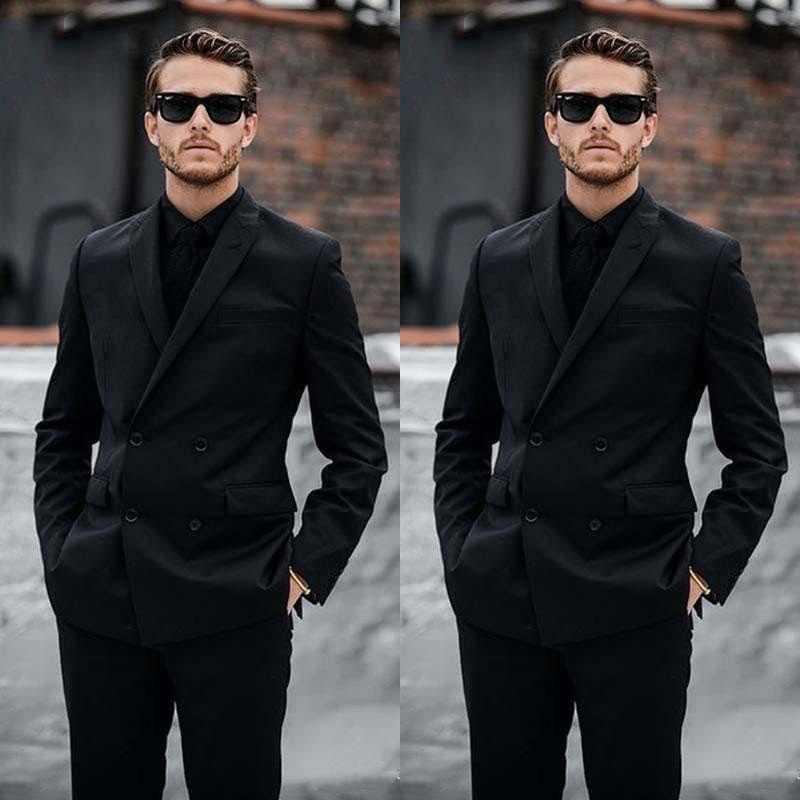 Podwójne piersi czarne garnitury męskie Groom Wear Casual garnitury ślubne Prom Blazer Slim Fit garnitury formalne garnitury (kurtka + spodnie)