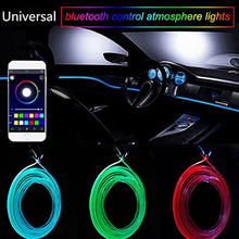 New Sound Active EL Neon Wire Strip Light RGB LED Car Interior Multicolor Bluetooth Phone Control Atmosphere 12V Kit