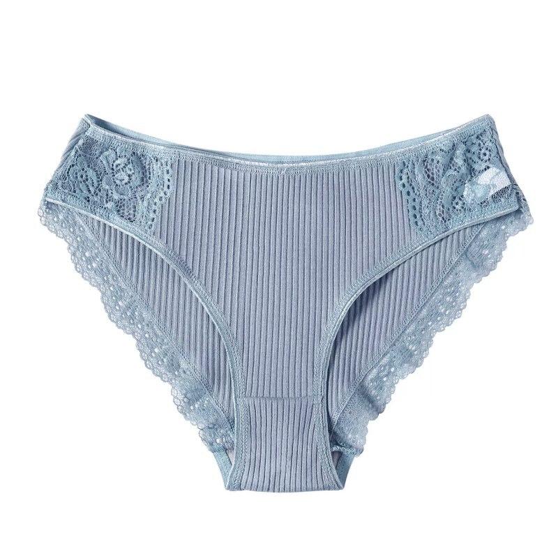 Sexy Women Lace Decorate Panties Ruffles Cotton Briefs Candy Colors Comfort Cotton Female Panties Sexy Lace Lingerie Underwear