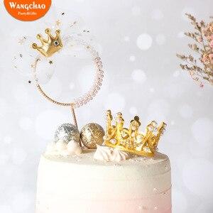 Железный гирлянда с жемчужным бантом Корона Топпер для торта «С Днем Рождения» «Prince» и «Princess» тема свадебный торт украшения Дети сувениры в...