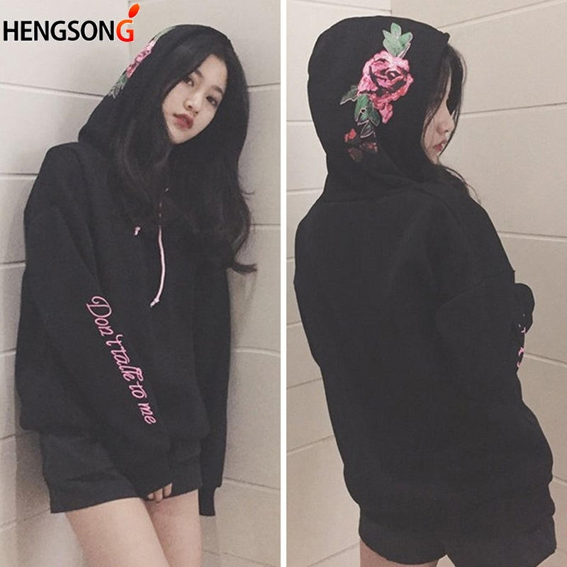 Loose Embroidery Rose Letter Tops Hip Hop Hooded Sweatshirts Autumn Winter Women Plus Velvet Pullover Female Long Sleeve Hoodies