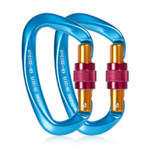 25KN Mountaineering Caving Rock Climbing Carabiner D Shaped Safety Master Screw Lock Buckle Escalade Equipement SES0057