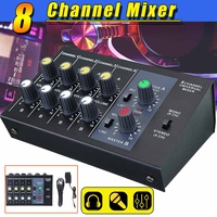 Mini Portable Audio Sound Mixer 8 Channel USB DJ Sound Mixing Console 48V Amplifier For TV DVD VCD Radio Karaoke KTV Match Party