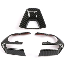 Wooeight 3Pcs ABS Estilo Fibra De Carbono Volante Decoração Adesivo Tampa Guarnição Apto Para Toyota RAV4 2019 2020 LHD acessórios