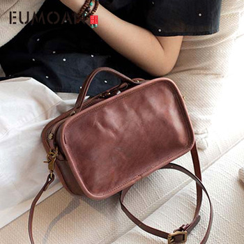 new leather retro simple commuter handbag leather shoulder bag original handmade Messenger bag female