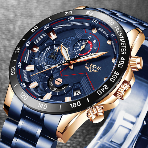 2019 New Mens Watches LIGE Top Luxury Brand Business Blue Stainless Steel Quartz Watch Mens Casual Waterproof Date Chronograph Pakistan