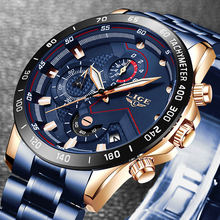 2019 New Mens Watches LIGE Top Luxury Brand Business Blue Stainless Steel Quartz