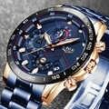 2019 neue Herren Uhren LIGE Top Luxus Marke Geschäfts Blau Edelstahl Quarzuhr Herren Casual Wasserdicht Datum Chronograph