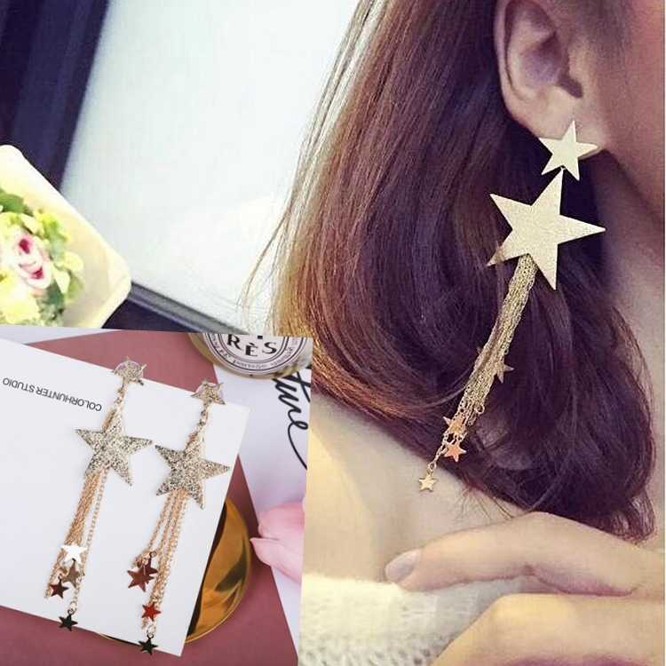 Hot Style High Quality Fashion Long Style Pendant Personality Temperament Star Tassel Earrings Valentine's Day Gift