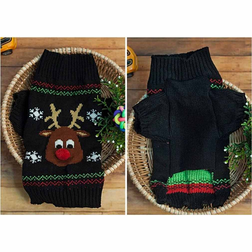 Abrigos de lana perro Navidad encantadora ropa para mascotas nariz roja suéter de ciervo para mascota Vip Teddy Pequeño medio y grande jersey para perro