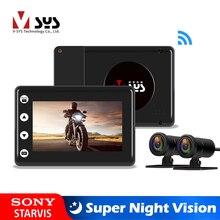 Sys vsys M2Fアップグレードオートバイdvr wifiスーパーナイトビジョンソニーstarvisデュアル1080p防水オートバイダッシュカメラレコーダー