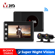 Sys vsys m2f atualizar motocicleta dvr wifi super visão noturna sony starvis dupla 1080p à prova dwaterproof água da motocicleta traço câmera gravador