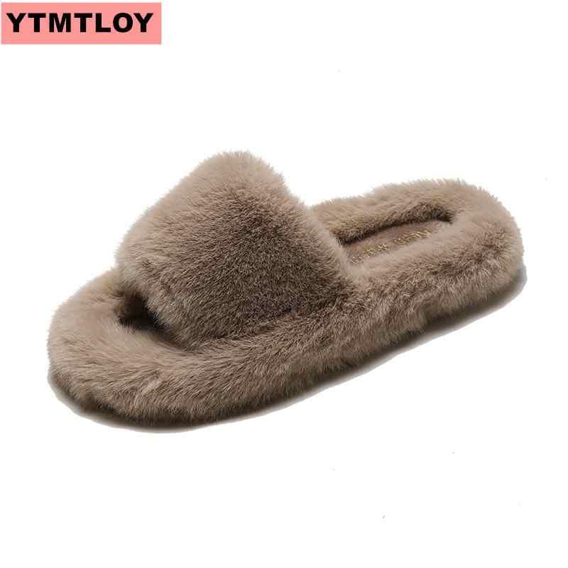 SıCAK kadın kürk terlik kış kadın ayakkabısı büyük boy ev terlik peluş kadın kapalı sıcak kabarık düz kış pamuklu ayakkabılar