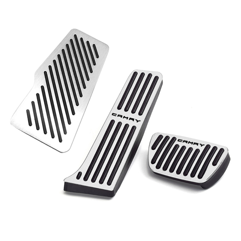 Image 4 - Aluminum Car Accelerator Gas Pedal Brake Pedal Footrest Pedal Non Slip Pads Cover Case AT For Toyota Camry 2018 2019 Accessories-in Pedals from Automobiles & Motorcycles