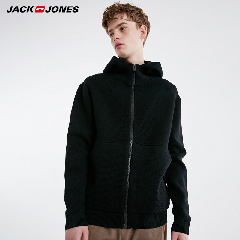 Jack Jones Mens  Hooded Spliace Cardigan Knit Sweater| 219125506