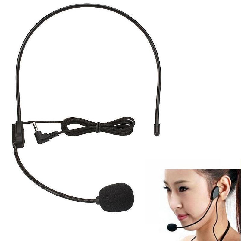 Ssdfly 3.5mm Wired Headworn Microphone Metal Microfono Mikrafone For Voice Amplifier Loudspeaker Black Megaphone