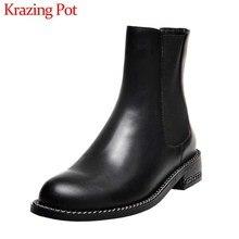 Krazing סיר קלאסי בציר למתוח מגפיים פרה עור עגול הבוהן med עקבים שחור צבעים חורף נשים להתחמם קרסול מגפיים l9f3