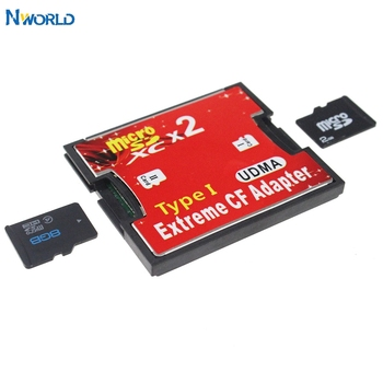 Red Dual Slot Micro SD SDHC SDXC TF To CF Adapter MicroSD To Extreme Compact Flash Type I Card Reader Multimemory