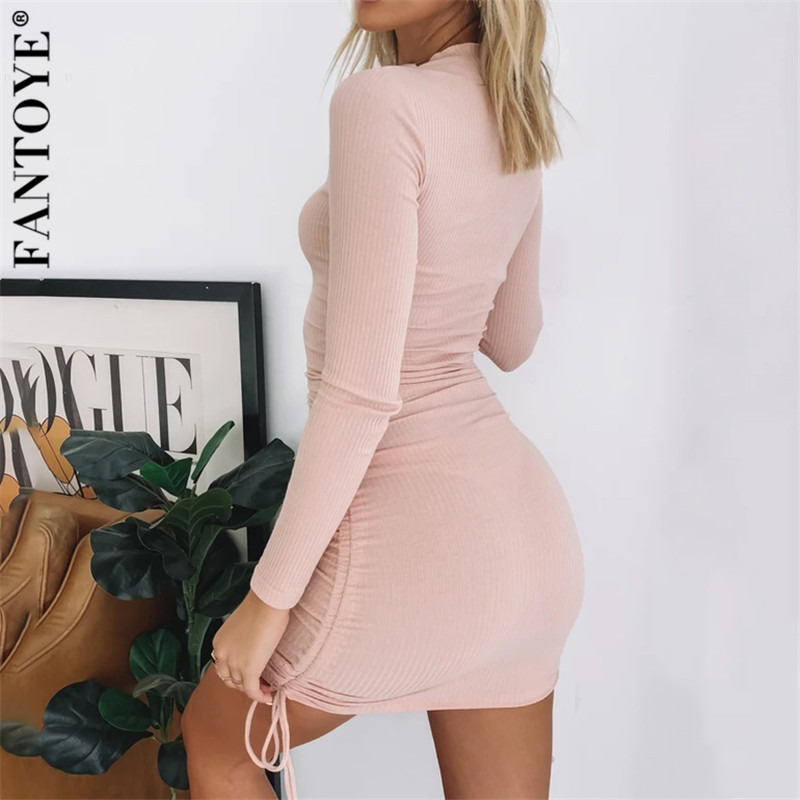 FANTOYE Cotton Full Sleeve Dress 2020 Autumn New Women Fold Ruched Drawstring Slim Mini Dress Casual Streetwear O-Neck Dresses 5