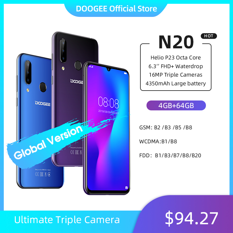 DOOGEE N20 Mobilephone Fingerprint 6.3inch FHD+ Display 16MP Triple Back Camera 64GB 4GB MT6763 Octa Core 4350mAh Cellphone LTE(China)