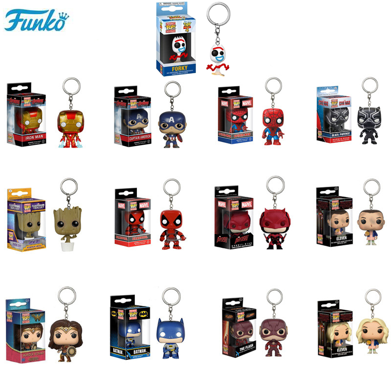 FUNKO POP Keychain Marvel Super Hero Original Pop Anime Characters PVC Action Figure Collectible Model Kids  Toys for Gifts F85