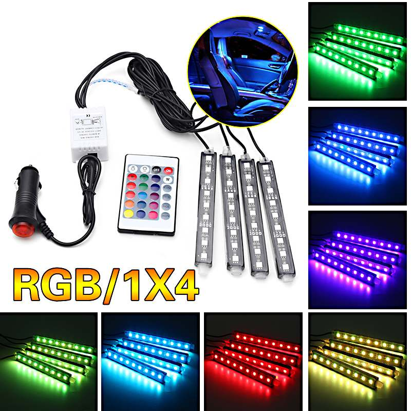 10W 4Pcs 5050 Car Auto LED RGB Interior Floor Decorative Light DC12V Atmosphere Strip Pathway Deco Floor Light Remote Control