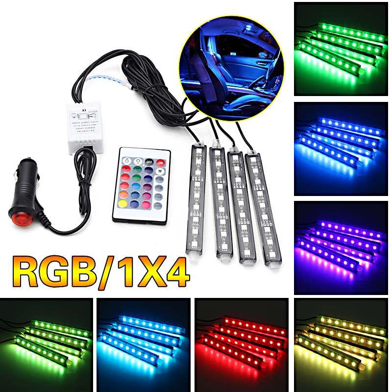 10W 4Pcs 5050 Car Auto LED RGB Interior Floor Decorative Light DC12V Atmosphere Strip Pathway Deco Floor Light Remote Control