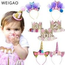 WEIGAO 1 шт. 1/2/3 шляпы для вечеринки по случаю Дня Рождения лента для волос в виде короны корона для принца и принцессы повязка на голову Baby Shower дети День рождения украшения
