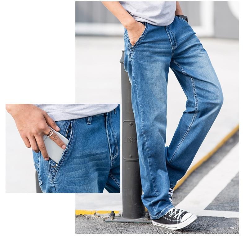 alta qualidade algodão estiramento reta jeans 2020