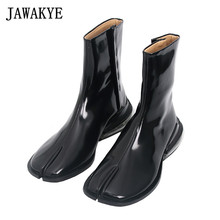 Winter Shoes Boots Leather Short Split-Toe Side-Zipper Black Women Ankle Celebrity White