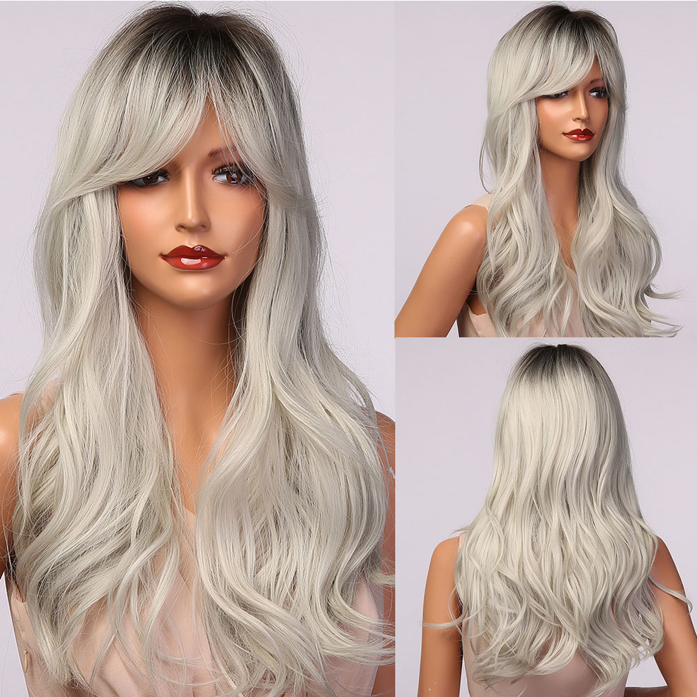 HENRY MARGU Long Wavy Black Gray Ash White Ombre Synthetic Wigs With Bangs Natural Cosplay Hair Wigs for Women Heat Resistant