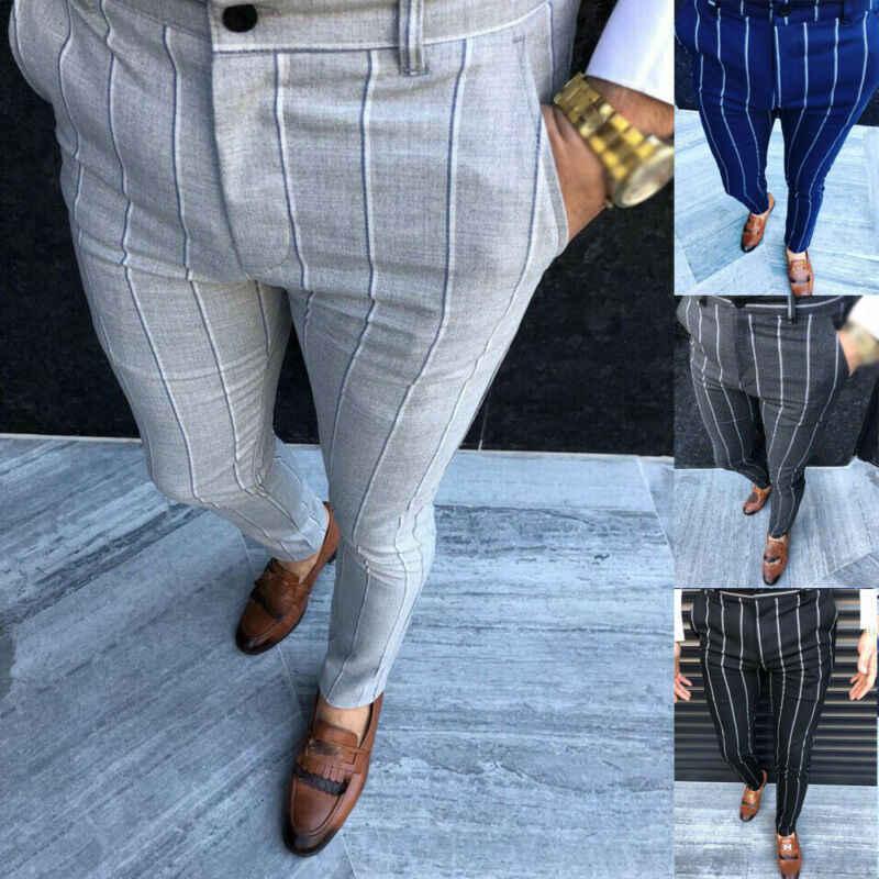 正式な男性のストライプパンツスリムフィットビジネスカジュアル鉛筆のズボンのファッション事務男性の長ズボンの