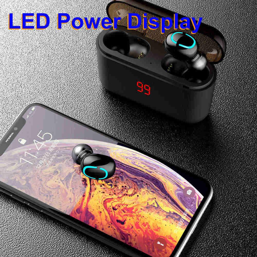 wireless earphones led power display 01