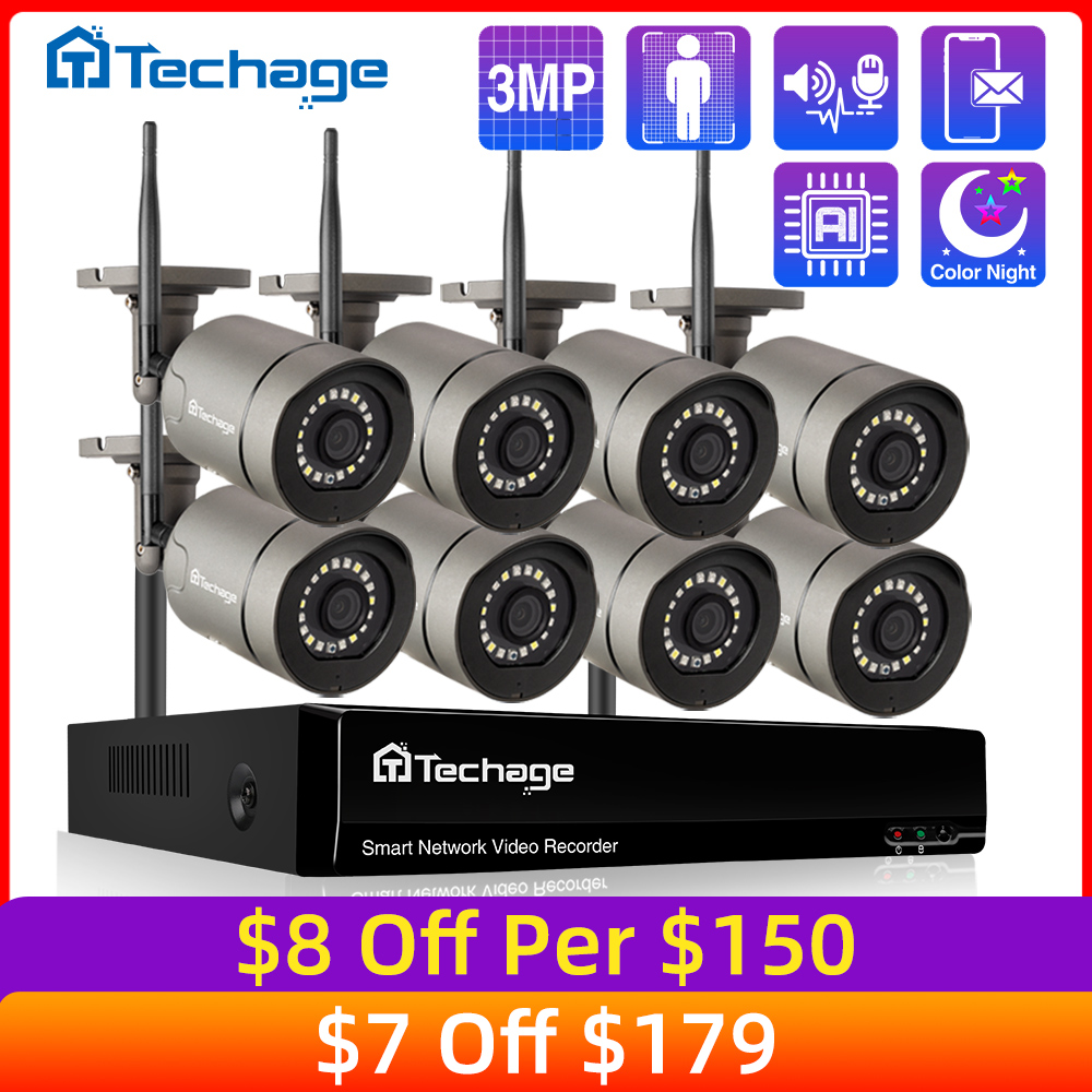 8CH 3MP HD Wireless Security Surveillance Camera System Color Night IP Camera Two Way Audio CCTV IP Camera Kit Outdoor P2P Video