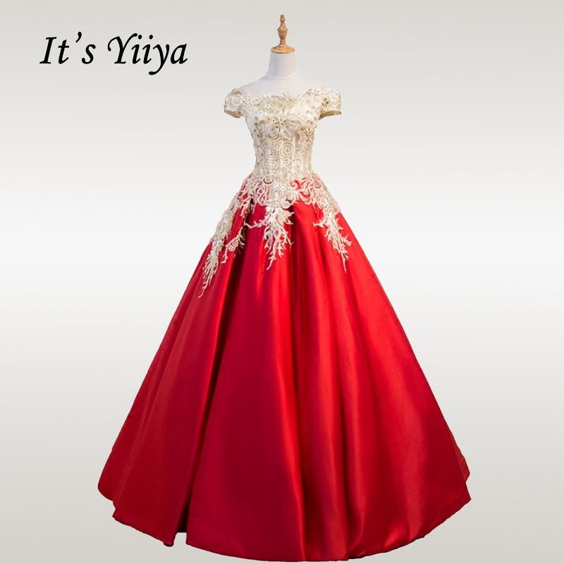 It's YiiYa Wedding Dress Lace Boat Neck Wedding Dresses Off Shoulder Robe De Mariee Plus Size Long Wedding Ball Gowns CH145